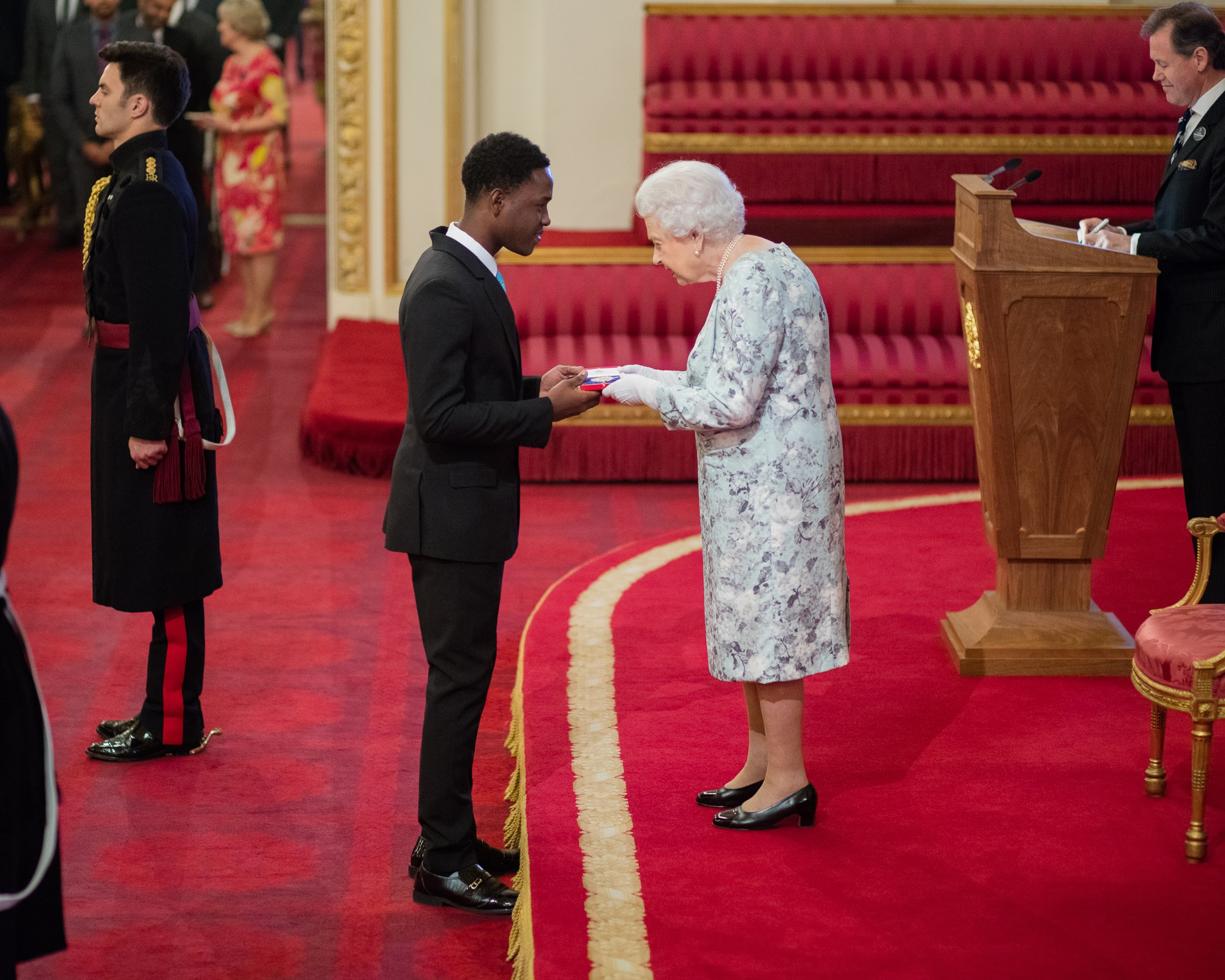 The 2017 Queen's Young Leaders receive their award from her majesty the Queen at Buckingham Palace.