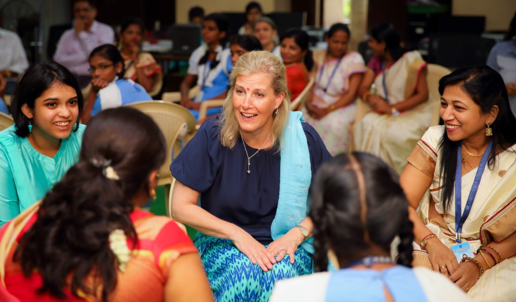 HRH The Countess-of Wessex visits Queen's Young Leader Deane De Menezes in India