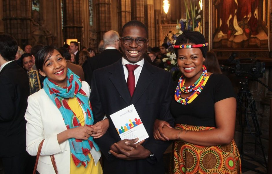Queen's Young Leaders PJ Cole and Barkha Mossae meet Her Majesty at an Observance for Commonwealth Day